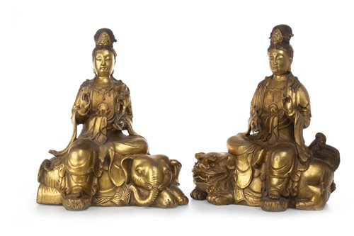 Lot 982-A PAIR OF CHINESE GUANYIN FIGURES