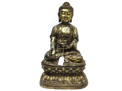 Lot 984-A LARGE CAST METAL FIGURE OF A BUDDHA
