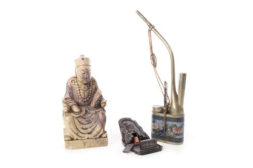 Lot 992-A CHINESE SOAPSTONE FIGURE, CLOISONNE PIPE AND A HARDSTONE MODEL OF A GRAVE