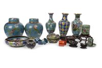 Lot 993-A LOT OF CHINESE CLOISONNÉ JARS AND WOOD STANDS