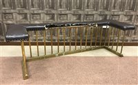 Lot 981-A LATE VICTORIAN BRASS CLUB FENDER  with upholstered seat in brown leather (wide area of damage), 178 cm wide 150-200