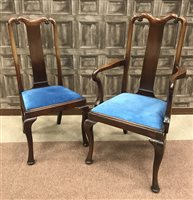 Lot 974-A SET OF TEN MAHOGANY DINING CHAIRS OF QUEEN ANNE DESIGN