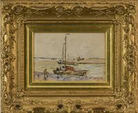 Lot 502-HARBOUR SCENE, BY JAMES GARDEN LAING