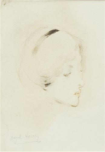 Lot 403 - SKETCH OF A LADY'S HEAD, BY HAZEL LAVERY