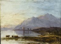 Lot 405-CARRICK CASTLE, AN OIL ON BOARD IN THE MANNER OF HORATIO MCCULLOCH