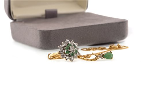 Lot 22-A DIAMOND AND GREEN GEM SET CLUSTER RING AND PENDANT