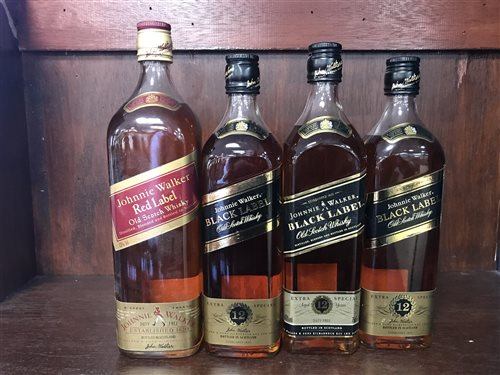 Lot 24-THREE JOHNNIE WALKER BLACK LABEL AGED 12 YEARS & JOHNNIE WALKER RED LABEL- ONE LITRE