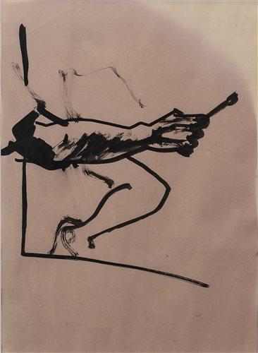 Lot 28-ARM HOLDING A BRUSH, BY ALASDAIR GRAY