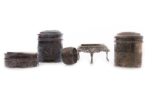 Lot 1000 - A GROUP OF BURMESE SILVER ITEMS