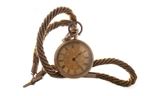 Lot 781-SILVER POCKET WATCH, A GOLD FOB WATCH AND A HAIRWORK WATCH CHAIN (3)