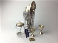 Lot 12-A SILVER MOUNTED VASE, JAR AND EGGCUPS