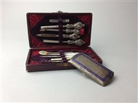 Lot 13-A SILVER MANICURE SET AND CIGARETTE CASE