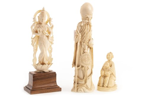 Lot 1010-A CHINESE IVORY FIGURE OF SHAO LAO AND TWO OTHERS