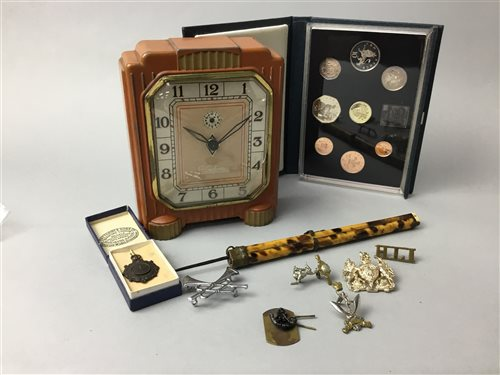 Lot 24-AN ART DECO CLOCK ALONG WITH OTHER COLLECTABLES