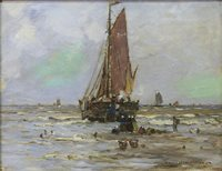 Lot 409-BOAT IN CHOPPY SEAS, AN OIL ON CANVAS BY ROBERT McGOWN COVENTRY