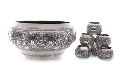 Lot 1013-AN INDIAN SILVER BOWL AND SIX NAPKIN RINGS