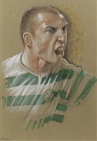 Lot 73-HENRIK LARSSON, AN ORIGINAL PASTEL BY PETER HOWSON