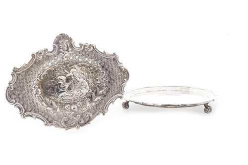 Lot 800-A SILVER WAITER WITH OTHER ITEMS