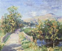 Lot 35-THE ROAD TO THE VILLAGE, BY WILLIAM WRIGHT CAMPBELL