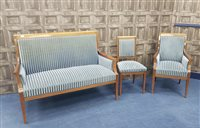 Lot 1721-AN EDWARDIAN MAHOGANY 'SHERATON REVIVAL' PARLOUR SUITE