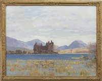 Lot 410-KILCHURN CASTLE LOCH AWE, AN OIL BY GEORGE HOUSTON