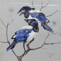 Lot 411-MAGPIES, A GOUACHE BY RALSTON GUDGEON