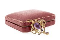Lot 270-EDWARDIAN AMETHYST AND SEED PEARL BROOCH PENDANT