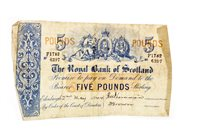 Lot 576-THE ROYAL BANK OF SCOTLAND £5 FIVE POUNDS NOTE, 2ND MAY 1944