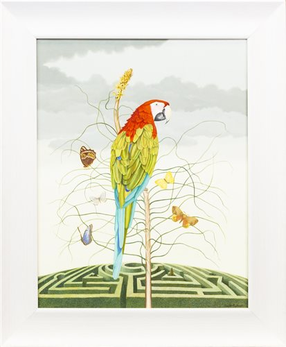 Lot 42-PARROT AND BUTTERFLIES, BY GWEN FULTON
