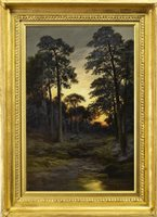 Lot 412-EVENING IN THE FOREST, AN OIL ON CANVAS BY WILLIAM BEATTIE BROWN