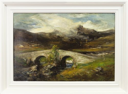 Lot 416 - HIGHLAND LANDSCAPE, AN OIL ON CANVAS BY PETER WISHART