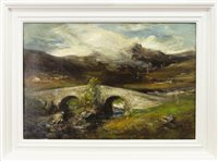 Lot 416-HIGHLAND LANDSCAPE, AN OIL ON CANVAS BY PETER WISHART