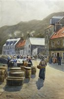 Lot 536 - HERRING GIRLS, A WATERCOLOUR BY WILLIAM DALGLISH