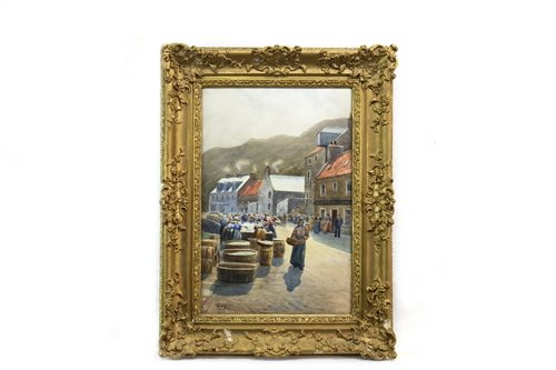 Lot 536-HERRING GIRLS, A WATERCOLOUR BY WILLIAM DALGLISH