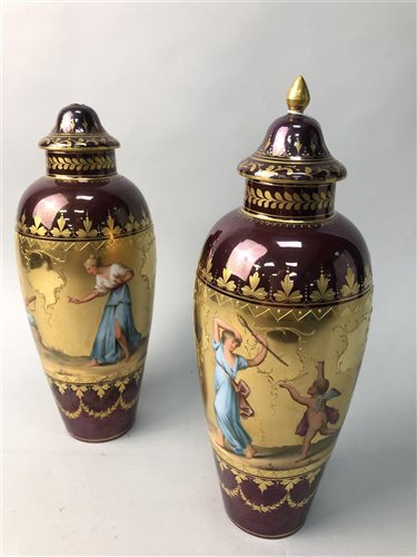 Lot 7-A PAIR OF ROYAL VIENNA STYLE VASES