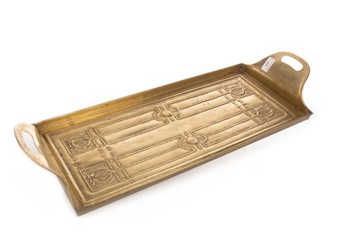 Lot 1659-AN ARTS & CRAFTS BRASS TRAY