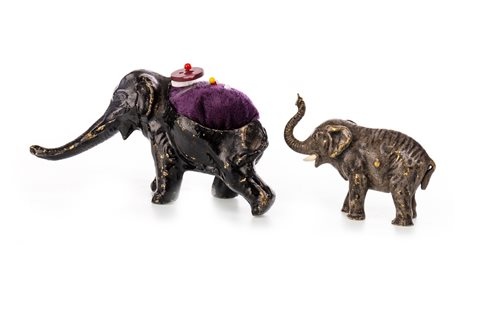 Lot 1661-A LOT OF TWO COLD PAINTED BRONZE ELEPHANTS