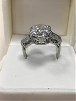 Lot 2-A VERY IMPRESSIVE DIAMOND SOLITAIRE RING