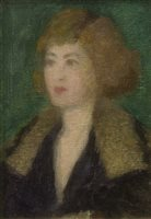 Lot 420-THE FUR COLLAR, AN OIL ON CANVAS BY STANSMORE RICHMOND LESLIE DEAN STEVENSON