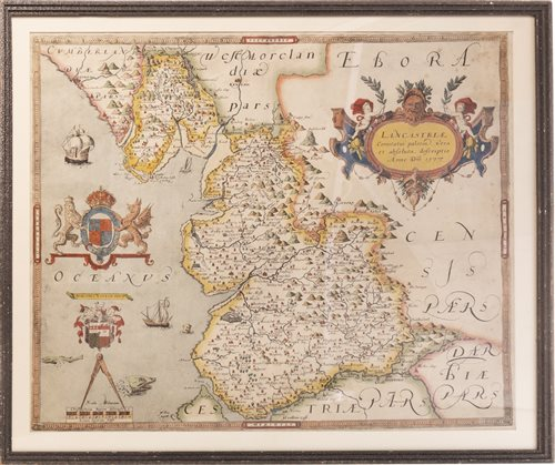Lot 1664-A FRAMED MAP OF LANCASHIRE