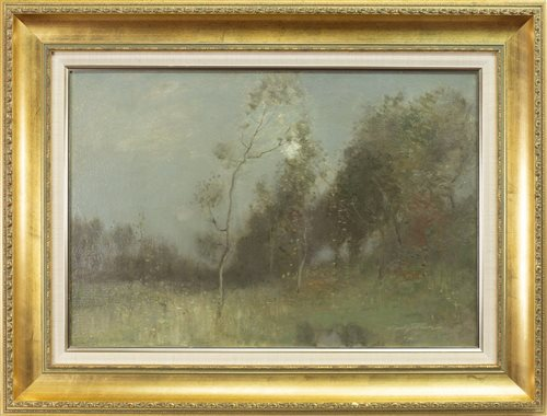 Lot 421-MOONLIGHT OVER THE POOL, AN OIL ON CANVAS BY ROBERT MACULAY STEVENSON