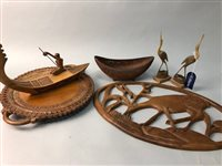 Lot 55-A LOT OF INDIAN WOOD CARVED ITEMS