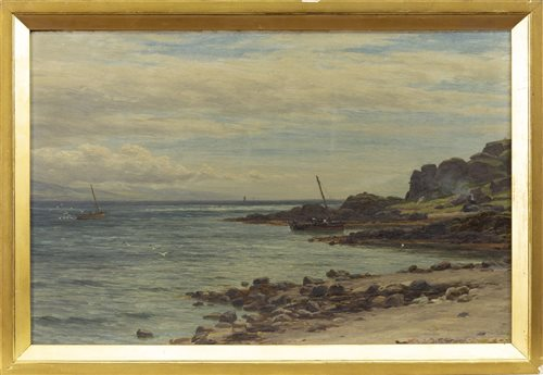 Lot 426-NEAR CARRADALE, AN OIL ON BOARD BY JOHN JAMES BANNATYNE