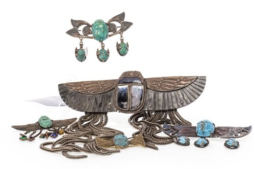 Lot 1803-A SCARAB HAIR CLASP AND FOUR BAR BROOCHES