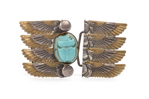 Lot 1805-A GILT AND WHITE METAL BELT BUCKLE BY PIEL FRERES