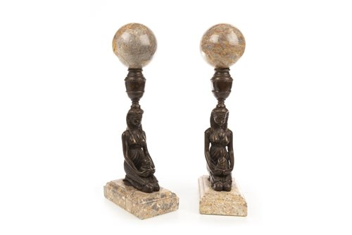 Lot 1814-A PAIR OF BRONZED METAL FIGURES
