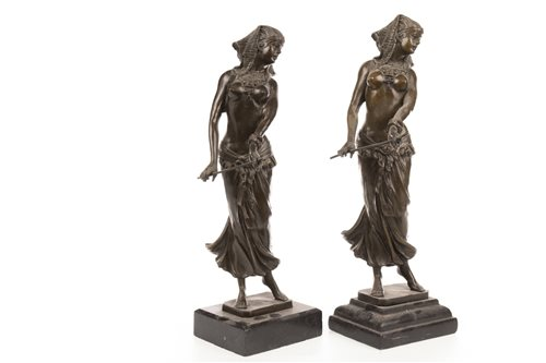 Lot 1819-A LOT OF TWO BRONZE FIGURES OF SEMI-CLAD FEMALE DANCERS