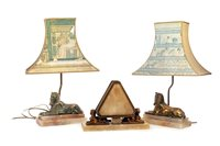 Lot 1820-AN ART DECO TABLE LAMP AND TWO SPHINX TABLE LAMPS