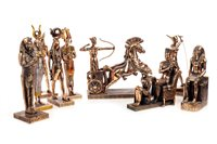 Lot 1821-AN EGYPTIAN CHARIOTEER FIGURE GROUP AND OTHER FIGURES
