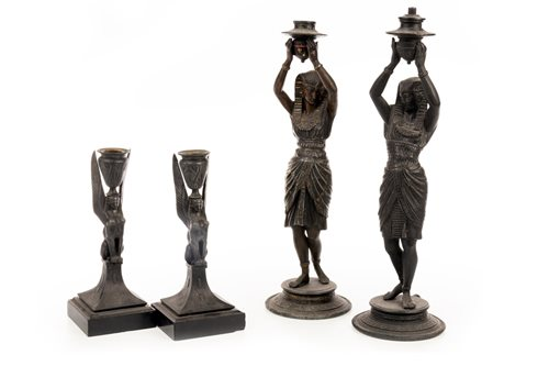 Lot 1823-A LOT OF TWO PAIRS OF CANDLESTICKS